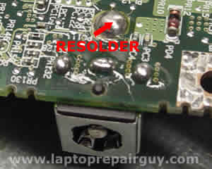Resolder Satellite M35X DC jack on the system board