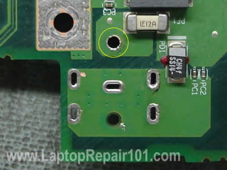 Power jack terminals on motherboard