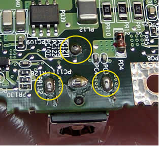 Bottom view of connector before repair