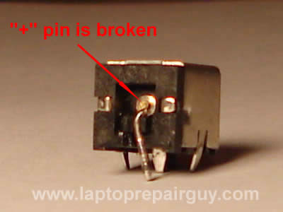 Power jack has a broken pin