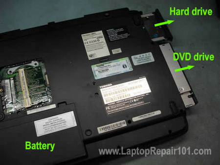 Remove hard drive DVD drive