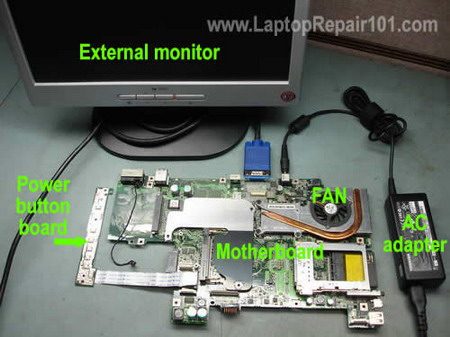 Test laptop motherboard
