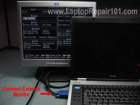 Test laptop with external monitor